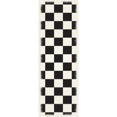 English Checker Design - Size Rug: 2ft x 6ft black & white colors