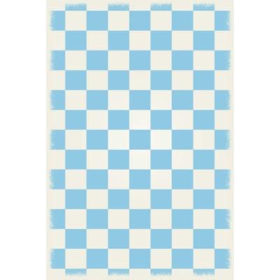 English Checker Design - Size Rug: 4ft x 6ft  light blue & white colors