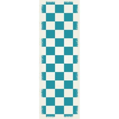 English Checker Design - Size Rug: 2ft x 6ft teal & white colors