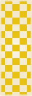 English Checker Design - Size Rug: 2ft x 6ft yellow & white colors