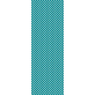 Elegant Cross Design- Size Rug: 2ft x 6ft teal & white colors