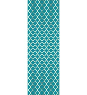 Quaterfoil Design- Size Rug: 2ft x 6ft teal & white