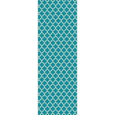 Quaterfoil Design- Size Rug: 2ft x 6ft teal & white