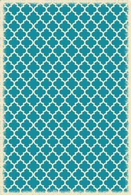 Quaterfoil Design- Size Rug: 4ft x 6ft teal & white
