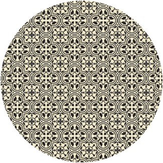 Quad European Circle Design - Size Rug: 5ft x 5ft - Black & White
