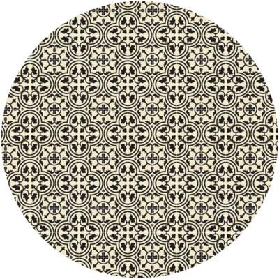 Quad European Circle Design - Size Rug: 5ft x 5ft - Black & White