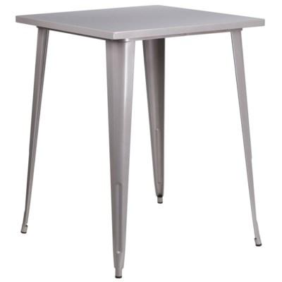 """31.5"""" Metal Bar Height Table- Gray"""
