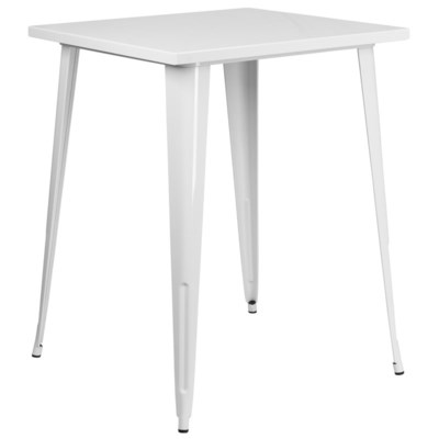 "31.5"" Metal Bar Height Table- White"