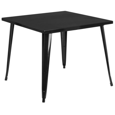 "35.5"" Square Metal Table- Black"