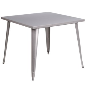 "35.5"" Square Metal Table- Gray"