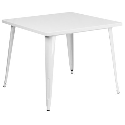 "35.5"" Square Metal Table- White"