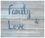 "Family where life begins & love never ends - Wash out Grey background 10"" x 12"""