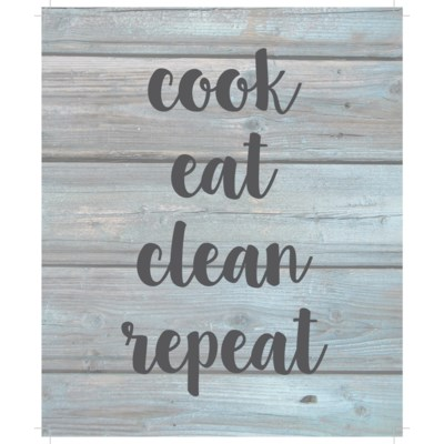 "Cook eat clean repeat - Wash out Grey background 10"" x 12"""