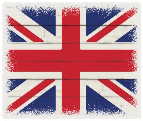 "Britian Flag - White background 10"" x 12"""