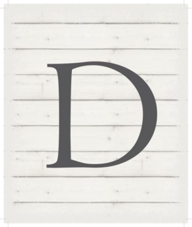 "Letter D - White background 10"" x 12"""