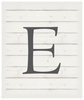 "Letter E - White background 10"" x 12"""