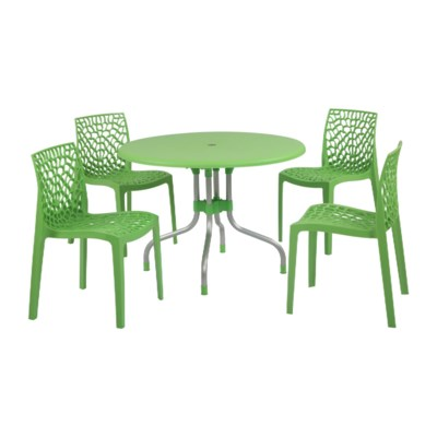 Green 5 Piece Set - Commercial Grade Chairs & Table