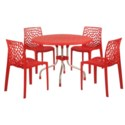 Red 5 Piece Set - Commercial Grade Chairs & Table