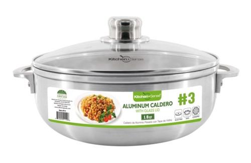 # 3,  Alu. caldero with glass lid (6)