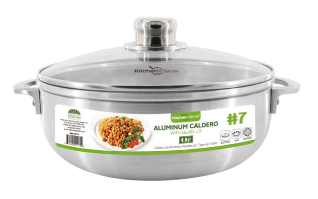 # 7,  Alu. caldero with glass lid (6)