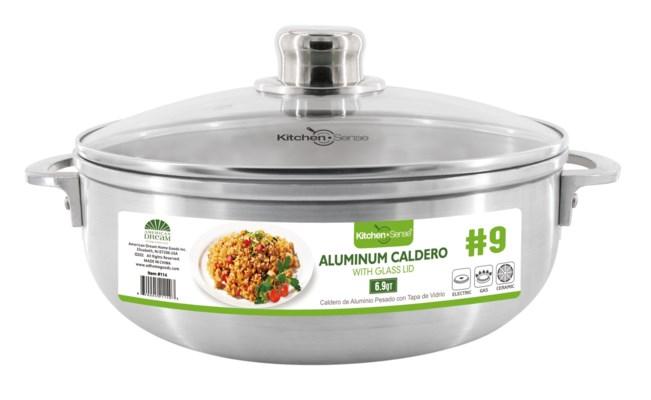 # 9,  Alu. caldero with glass lid (6)