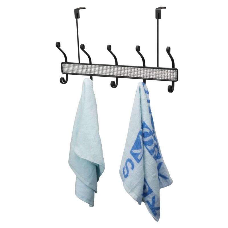 Black - Over Door Hanger 5 Hooks with Diamond Cloth Decoration (12)