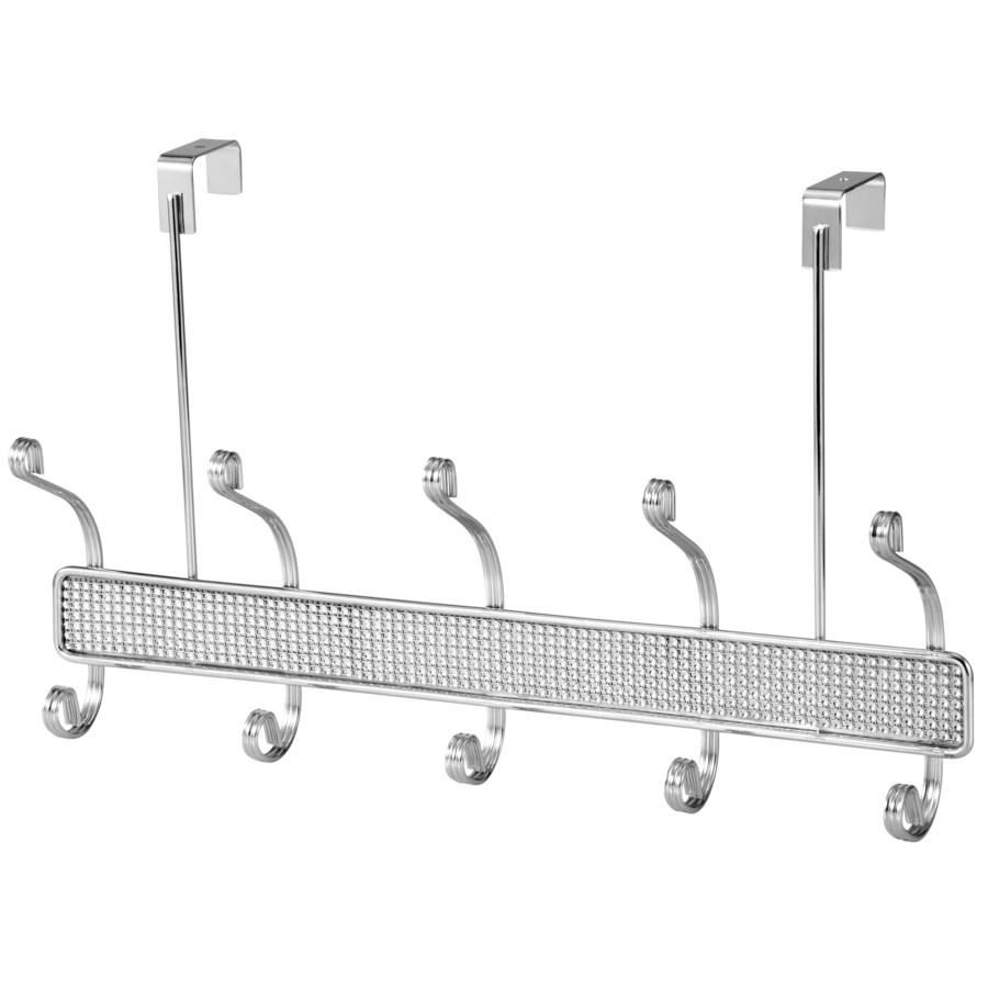 Chrome - Over Door Hanger 5 Hooks with Diamond Cloth Decoration (12)