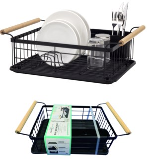 Black - Large Dish Drainer with Wood Handles (6)