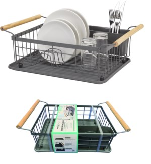 Grey - Large Dish Drainer with Wood Handles (6)