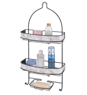 Black - Shower Caddy with Marble Design(6)
