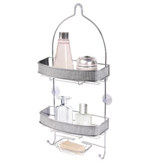 Chrome Shower Caddy with Diamond Cloth Decoration (6)