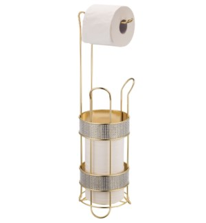 Gold - Toilet Paper Roll Holder with Diamond Cloth Decoration (6)