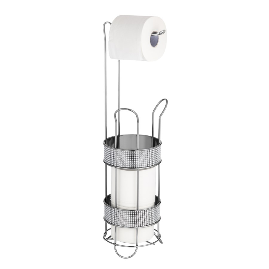 Chrome Toilet Paper Roll Holder with Diamond Cloth Decoration (6)