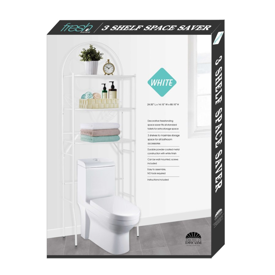 White - No-tool-installation Over Toilet Space Saver(1)