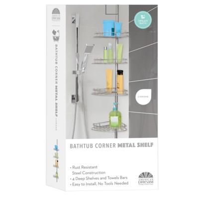 Metal Silver Bathroom Corner Shelf (6)