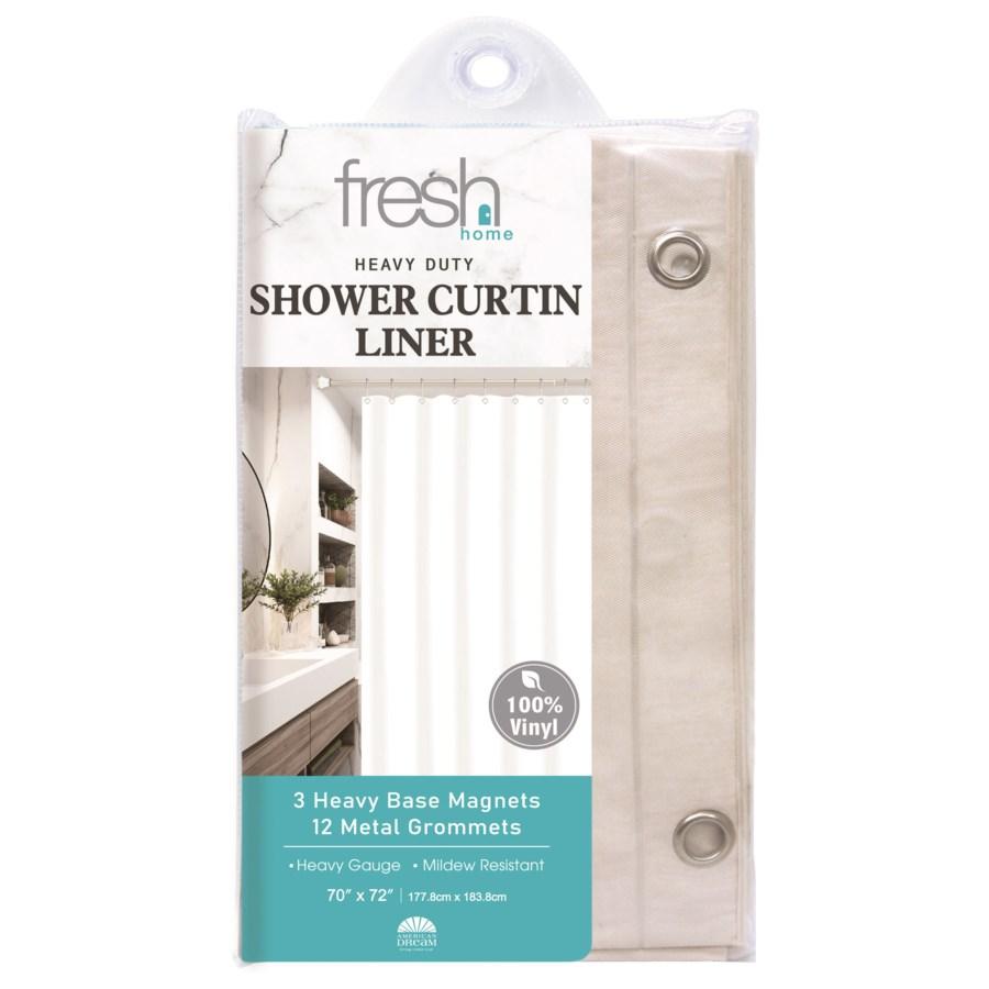 Beige PVC Shower Curtain Liner ( 24/48 )