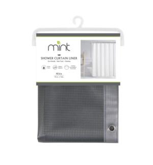 4.4 Gauge Grey Waffle Design PEVA Shower Curtain Liner (12)