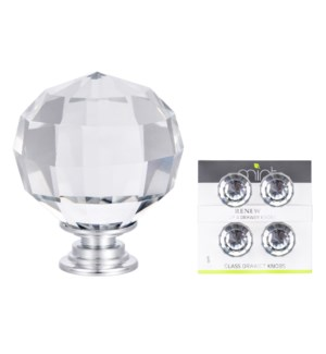4Pc Classic Crystal Glass 40MM Knob Pull Handles (12 set)