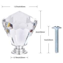 4PC Jubilee Crystal Glass 40MM Knob Pull Handles (12 set)