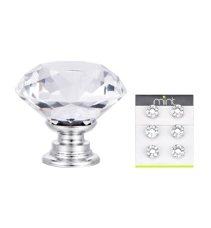 6Pc Monarch Crystal Glass 30MM Knob Pull Handles (12 set)