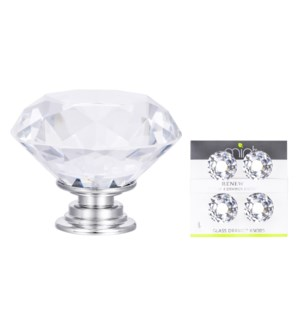 4Pc Monarch Crystal Glass 40MM Knob Pull Handles (12 set)