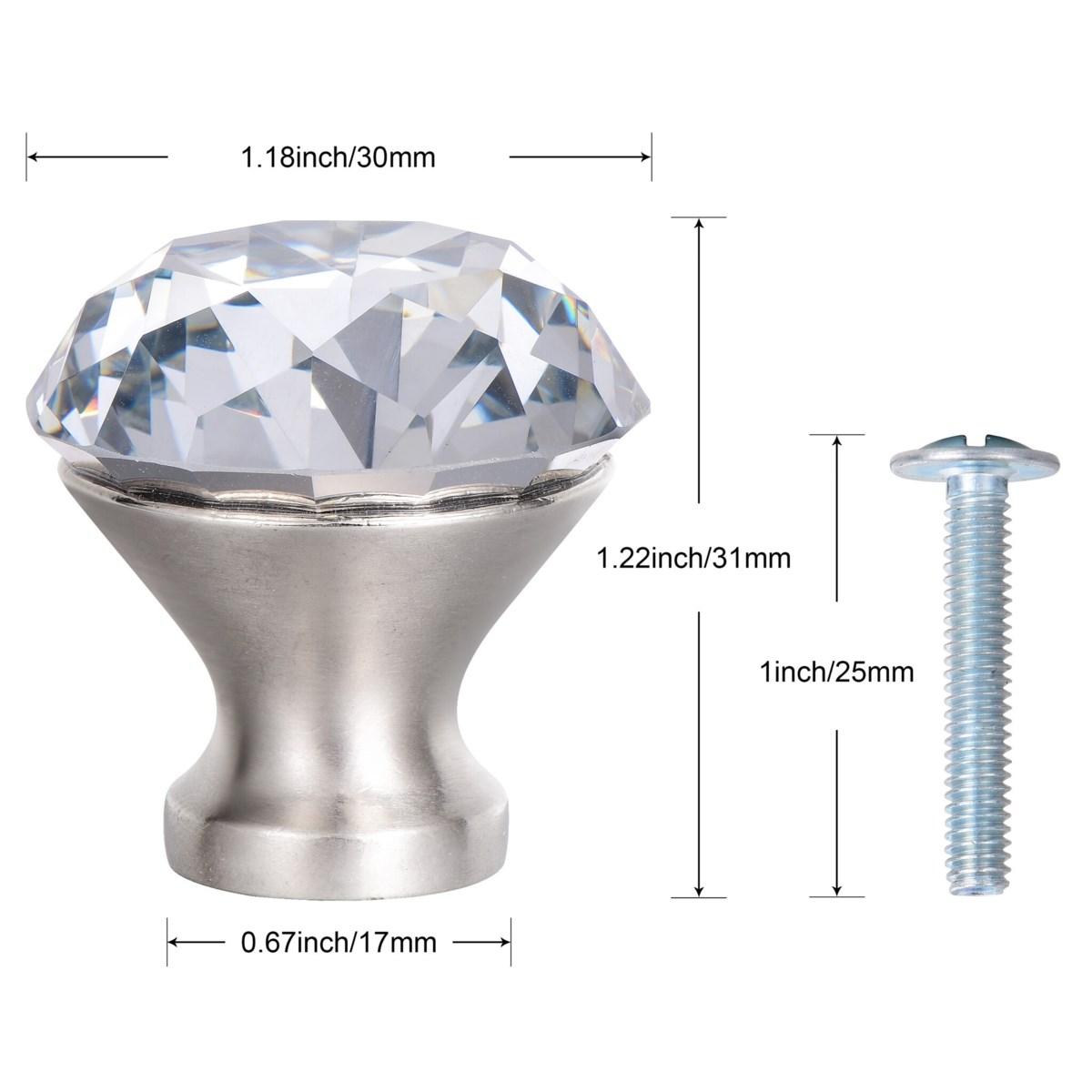 6PC Sparkler Crystal Glass 30MM Knob Pull Handles (12 set)