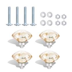 4PC Amber Blossom Crystal Glass  45MM Knob Pull Handles (12 set)