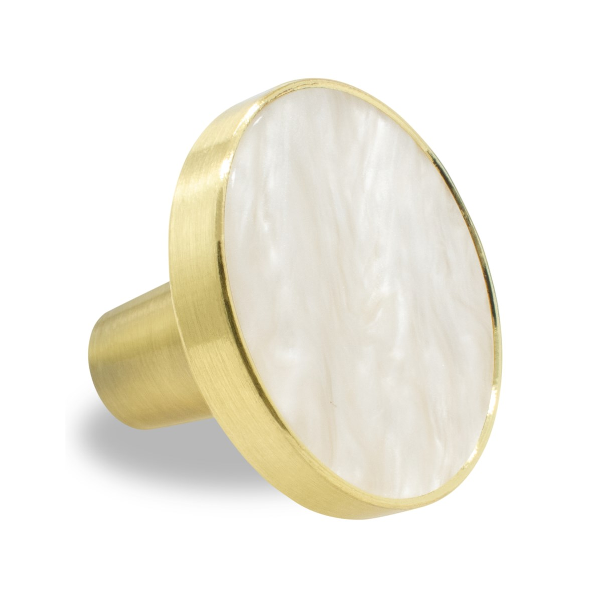 6PC Crema Pearl Stone 30MM Knob Pull Handles w/ Brushed Gold Finish (12 set)