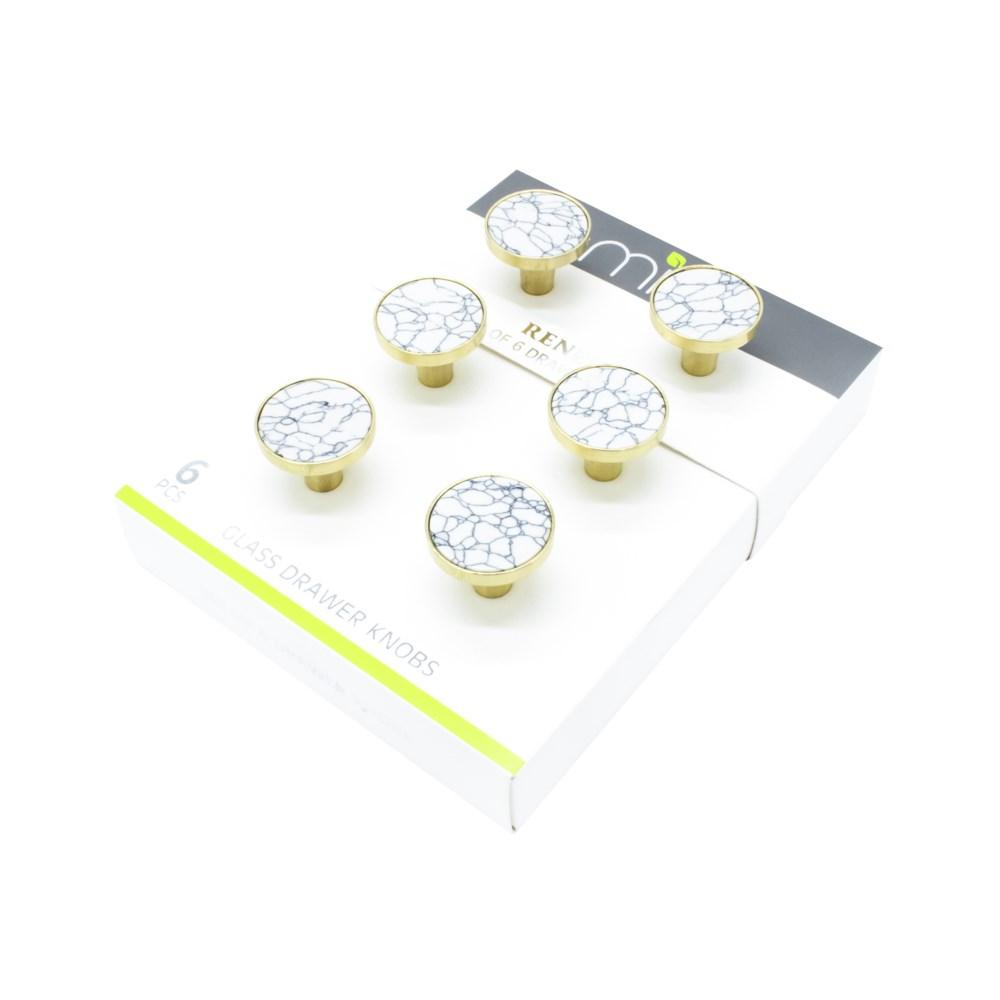 6PC White Calcutta Stone 30MM Knob Pull Handles w/ Brushed Gold FInish (12 set)