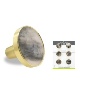 6PC Multi-color Smoke Stone 30MM Knob Pull Handles w/ Brushed Gold Finish (12 set)
