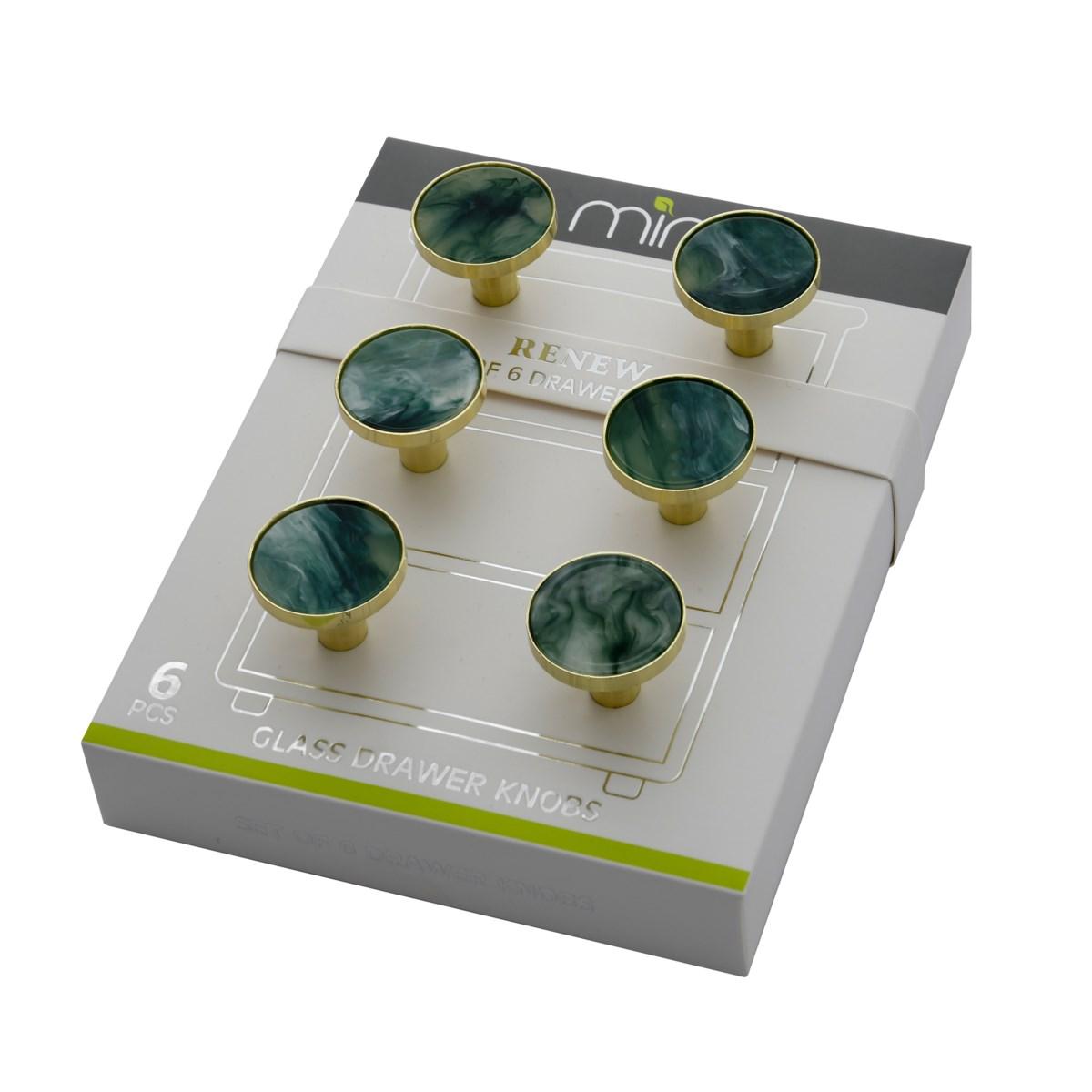 6PC Jade Marble 30MM Knob Pull Handles (12 set)