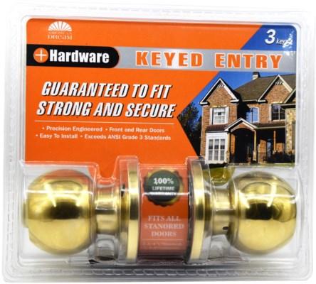 Polished Brass- Keyed entry lock (6/24)