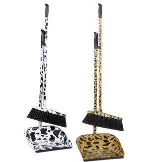 Cow/Leopard Design Broom with Dust Pan ( 24 )