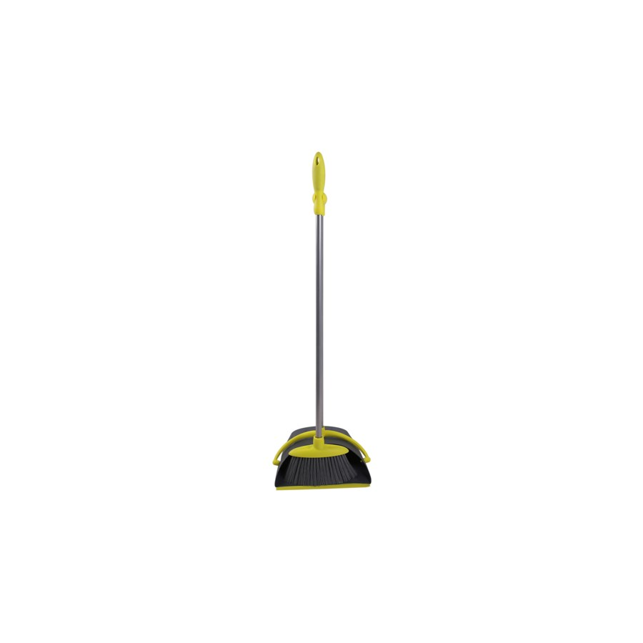 Soft Grip handled Dust Pan w/ Broom (12) 4 Colors Assorted
